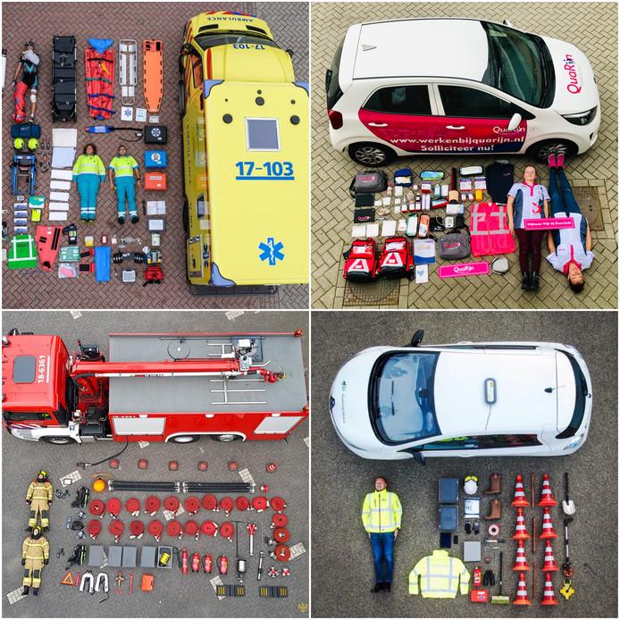 Met de klok mee: ambulancedienst Rotterdam-Rijnmond, QuaRijn, Brandweer Zwijndrecht en Gemeente HW.