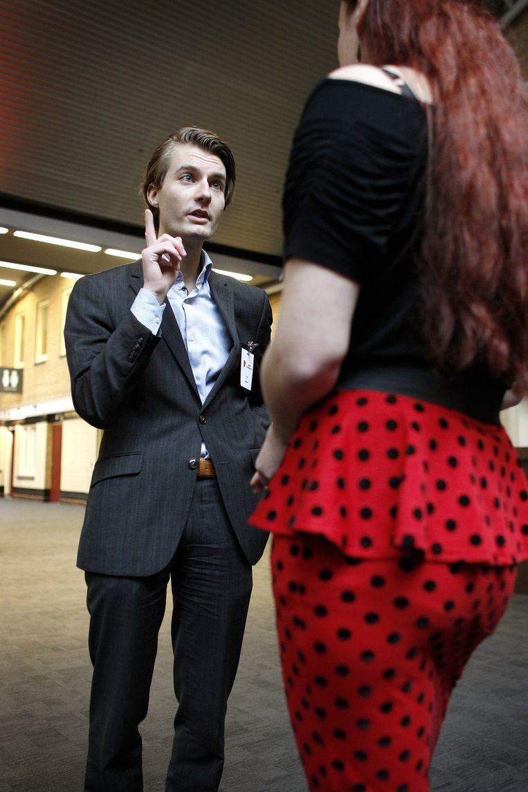 JOVD voorzitter Jarico Vos voor aanvang van het VVD congres. De jongerenafdeling van de VVD krijgt toch vijf minuten spreektijd op het congres. Beeld anp