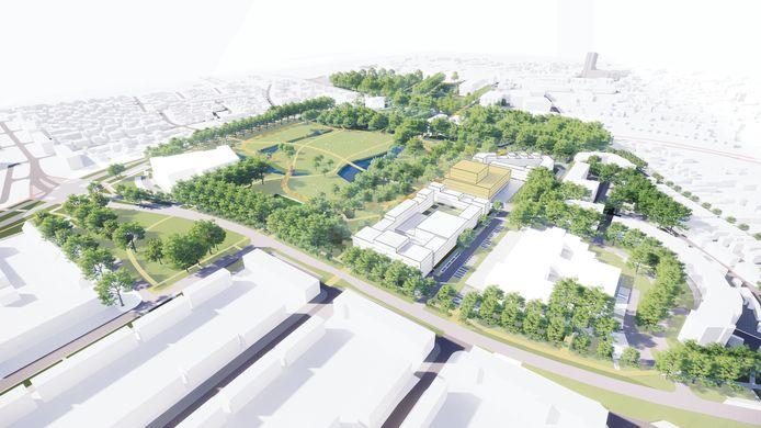 Een impressie van het Slotjesveld van de toekomst. Met rechts de gebouwen, links de groene zone.