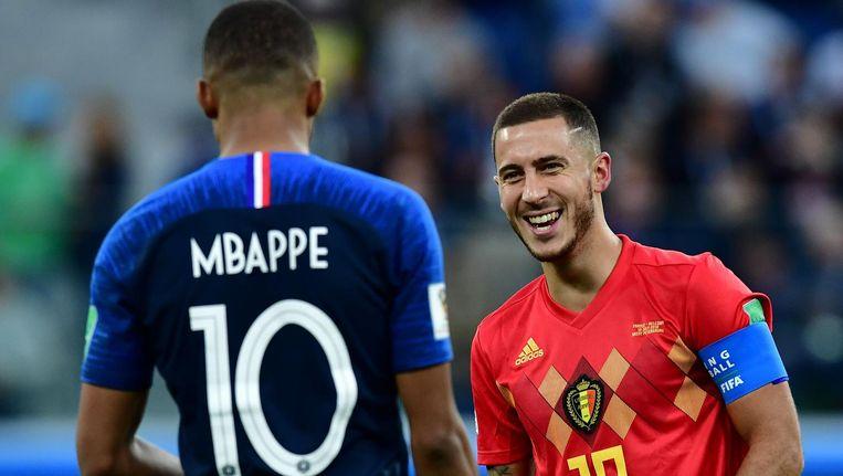 De beste rechtsbuiten Kylian Mbappé (Fra) met de beste linksbuiten Eden Hazard (Bel) tijdens de wedstrijd Frankrijk - België. Beeld anp