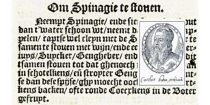 Het originele recept van de gestoofde spinazie van Carolus Battus.