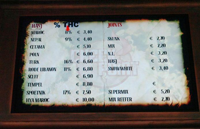 Prijslijst van coffeeshop Checkpoint.