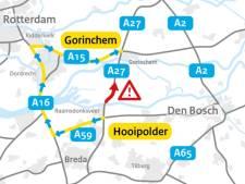 Ongeluk met vrachtwagen op A27 bij Werkendam, weg weer vrij