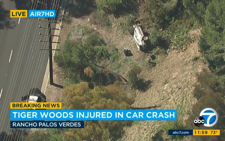 Helikopterbeeld van het auto-ongeluk. Beeld AP