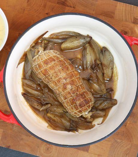 Wat Eten We Vandaag: Varkensfiletrollade met mosterdsaus en gestoofde sjalotten