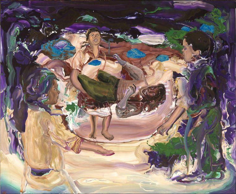 Hend Samir, 'The Play Ground'. Acrylverf op doek, 170 x 140 cm (2021). Beeld Tom Haartsen