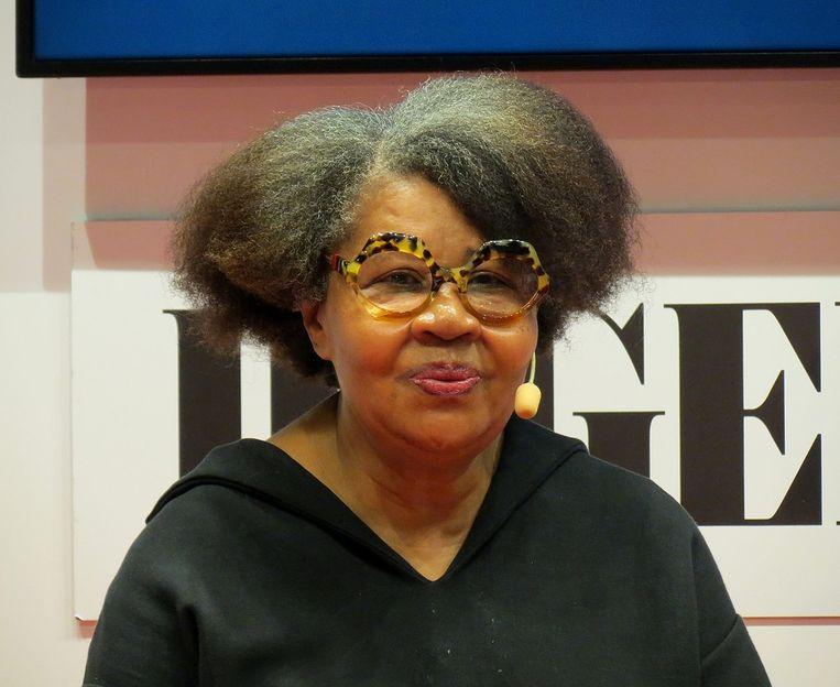 De Caraïbisch-Amerikaanse schrijfster Jamaica Kincaid. Beeld rv