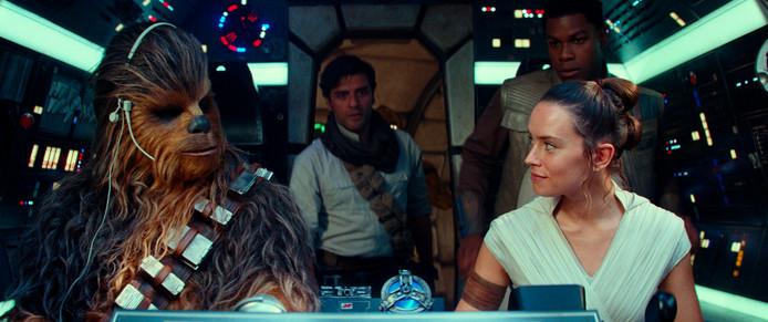 Chewbacca, Poe Dameron, Rey en Finn.