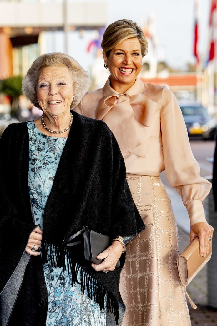 Koningin Maxima en prinses Beatrix tijdens de uitreiking van de Prins Bernhard Cultuurfonds Prijs in het Muziekgebouw aan 't IJ, vorig jaar.