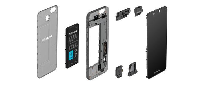 Een 'ontplofte' FairPhone 3+.