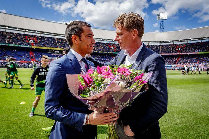 Giovanni van Bronckhorst bij zijn afscheid als coach van Feyenoord.