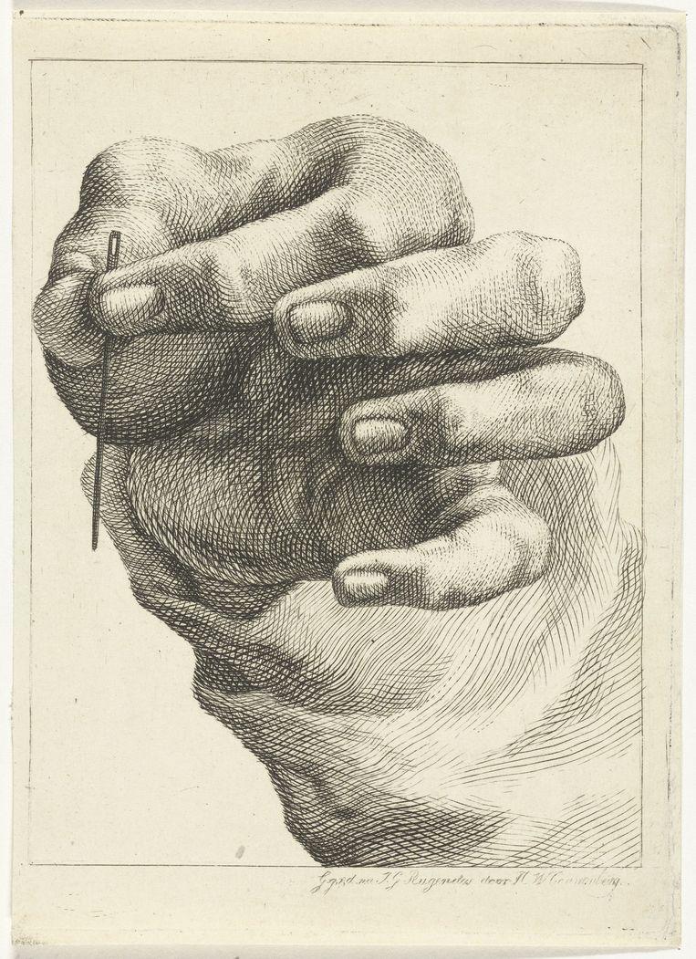 H. W. Couwenberg, Studie van een hand met naald, 1830-45, Rijksmuseum. Beeld Rijksmuseum