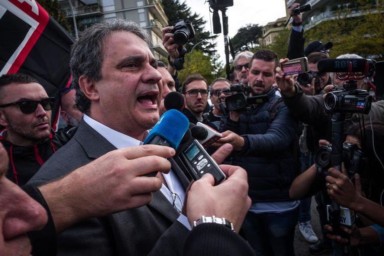Roberto Fiore: 'Laten we vanaf nu 4 november als bijzondere datum zien; de dag waarop ons volk opnieuw wakker werd.' Beeld Nicola Zolin