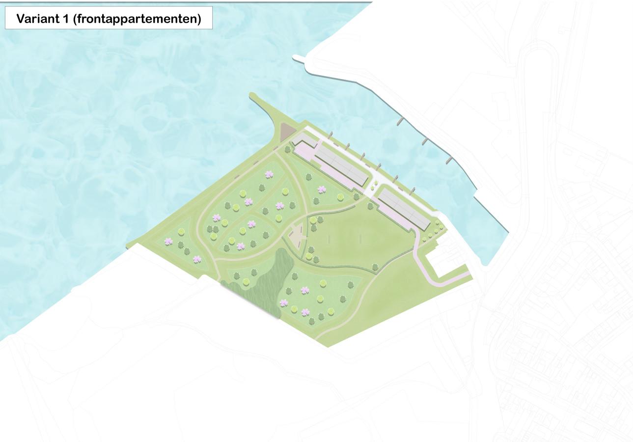 Een eerste schets van de gemeente Moerdijk: twee appartementenblokken aan de haven, met op de kop een horecagelegenheid.