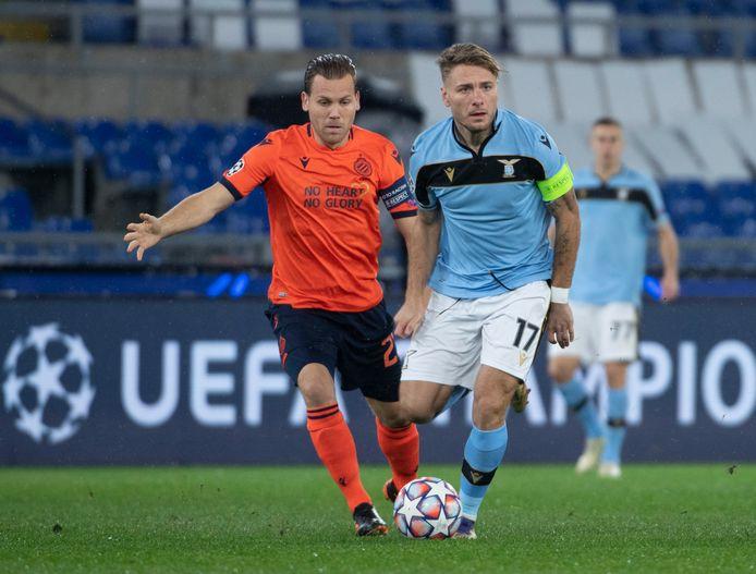Ruud Vormer en Ciro Immobile, de captains van Club Brugge en Lazio, in duel in Stadio Olimpico in Rome.