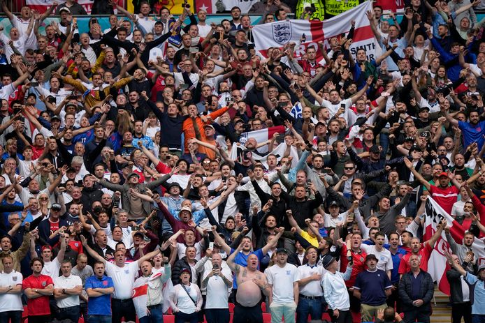 Grootse sfeer op Wembley na de 2-0 van de Engelsen tegen Duitsland.