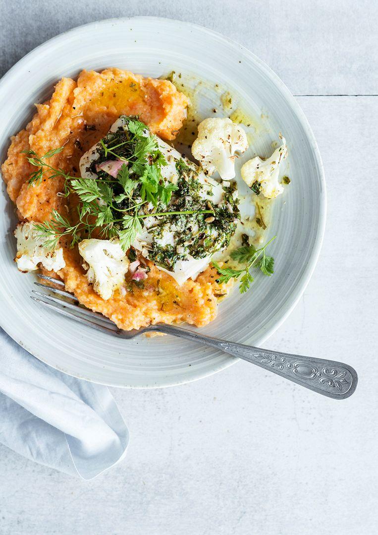 Foodbag: gebakken witvis met bloemkoolwortelpuree en citroensaus Beeld rv
