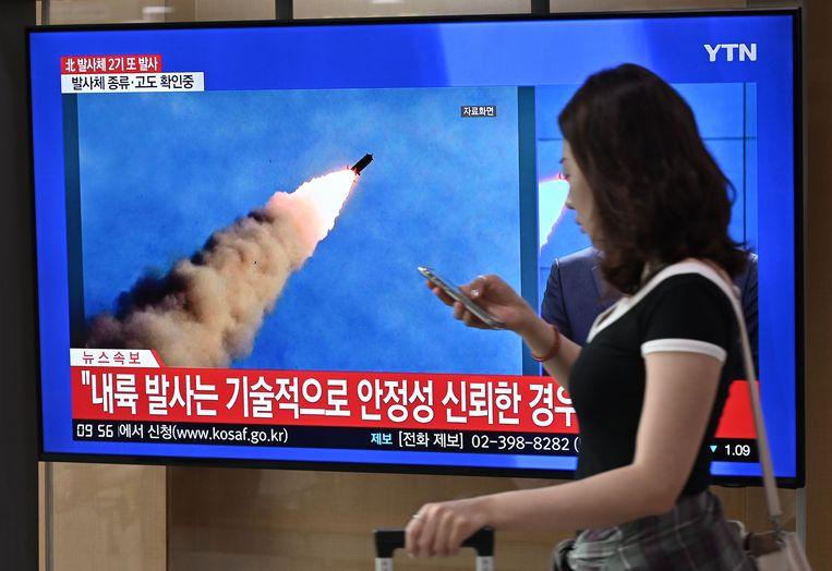 In september lanceerde Noord-Korea ook al meerdere projectielen. Beeld AFP