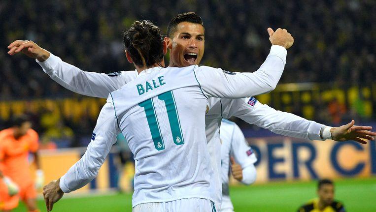 Bale en Ronaldo aan het feest in Dortmund. Beeld ap
