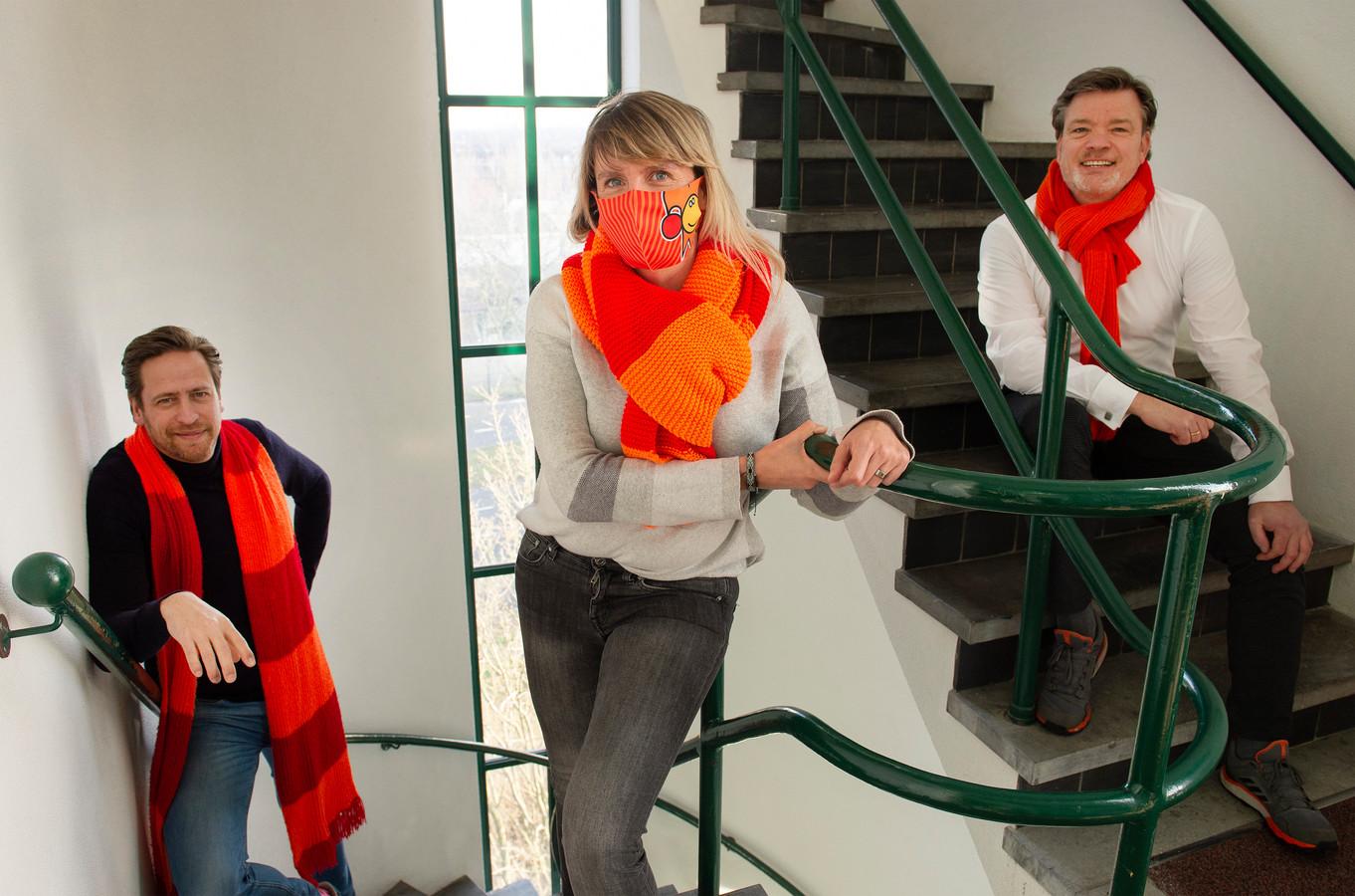 Stichting Kielegat heeft ondanks alles grootse plannen met carnaval. Vlnr: Pim van Bel (sjef creative denktank), Anouk Bakkers (sjef pers en promotie) en Lucien Verhoef (voorzitter).