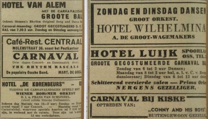 Carnavalsadvertenties uit 1937 van de cafés die Bossche obers inhuurde voor de bediening.