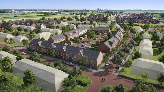 De 14 energiezuinige eengezinswoningen in het Koningskwartier in Zevenhuizen worden in drie woonblokken gebouwd.