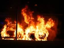 Meerdere auto's gaan in vlammen op in Wippolder