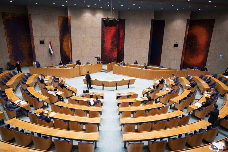 De Tweede Kamer. CDA en D66 willen het minimumloon verhogen met 10 procent, de VVD spreekt in haar verkiezingsprogramma van een 'verhoging'. Links sluit aan bij de 14 euro die door vakbond FNV wordt gepropageerd. Beeld ANP