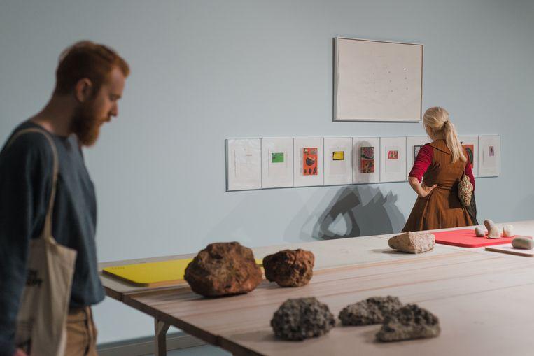 Stenen spelen een belangrijke rol in de tentoonstelling. 'De steen staat voor de onoplosbare knoop waar de VUB tegenaan kijkt.' © RV / VUB / Pieter Dumoulin Beeld RV  VUB / Pieter Dumoulin