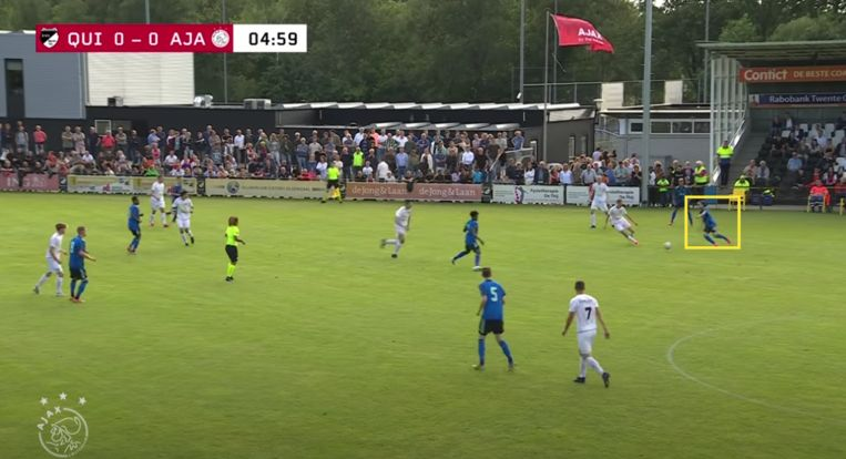 Fitz-Jim tegen Quick'20. Beeld Screenshot Ajax TV