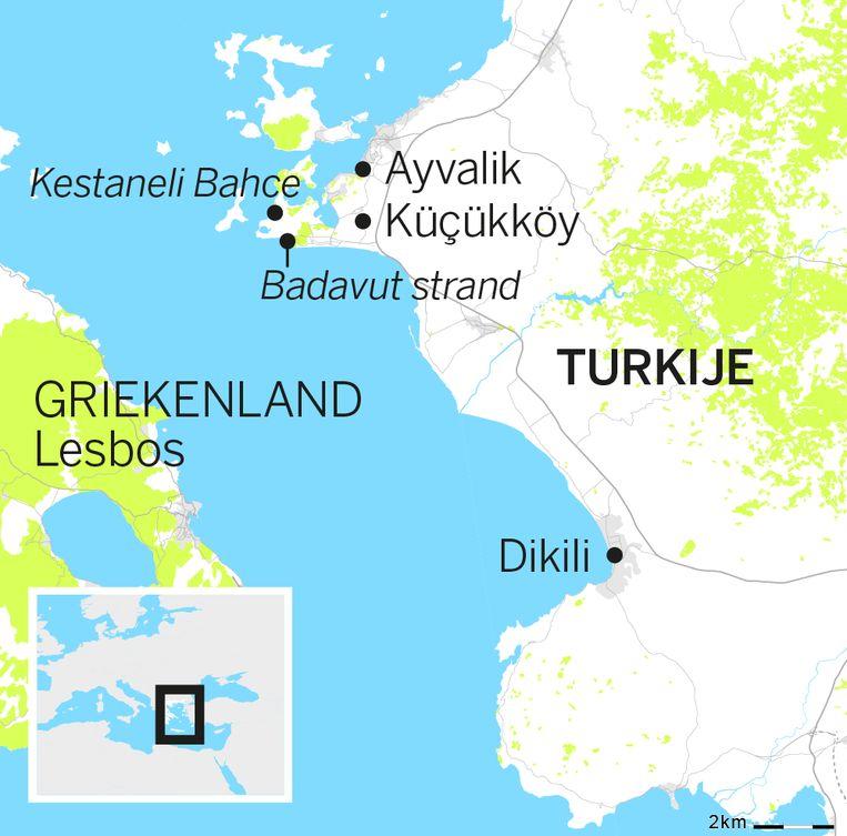 Van Turkije naar Lesbos. Beeld de Volkskrant