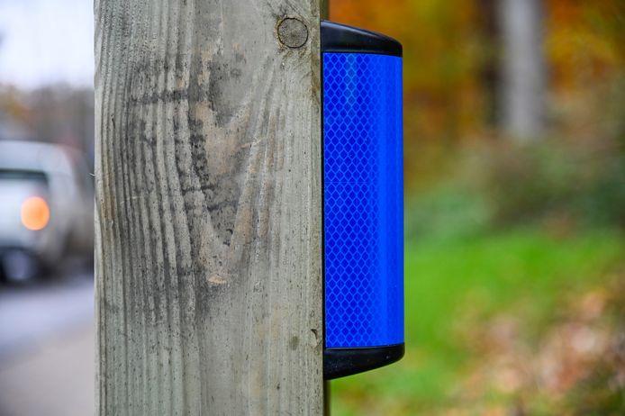De reflectoren zijn blauw omdat deze kleur waarschuwend werkt voor de reeën.