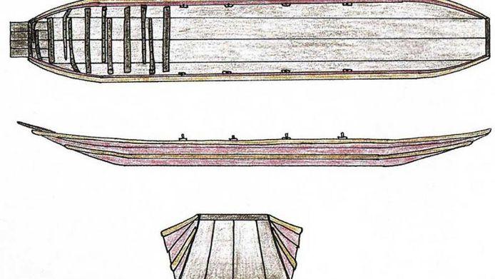 Voici à quoi devait ressembler la barge fluviale dont les restes ont été retrouvés à Koeweide. Il s'agit de la reconstitution d'une barge fluviale retrouvée à Vleuten.