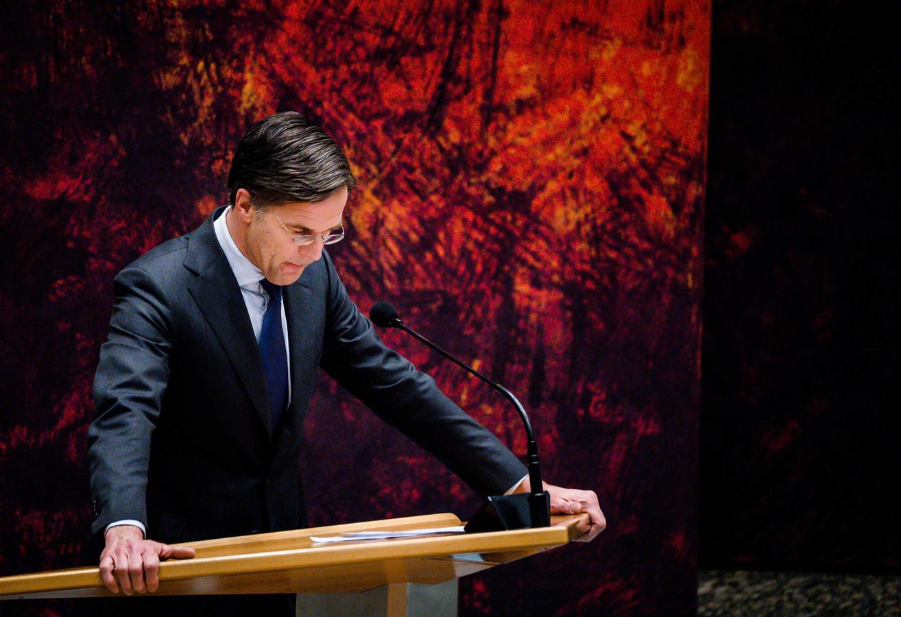 Mark Rutte tijdens het Kamerdebat over de formatie, afgelopen week.