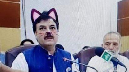Hilarisch: Pakistaanse overheid zet per ongeluk kattenfilter aan tijdens persconferentie van politicus