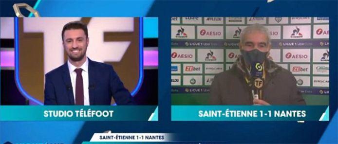 Le journaliste Pierre Nigay et Raymond Domenech