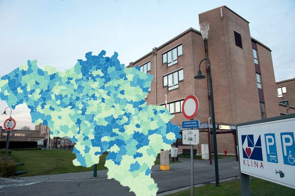 Het AZ Klina in Brasschaat: het noorden van de provincie Antwerpen kent de laatste week een forse stijging van het aantal coronagevallen.
