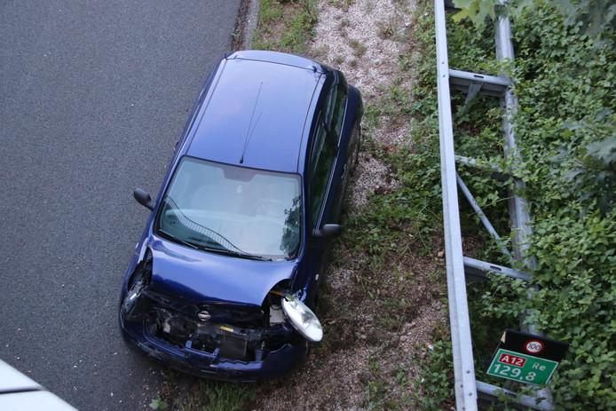 Een eenzijdig ongeval op de A12, woensdagavond.