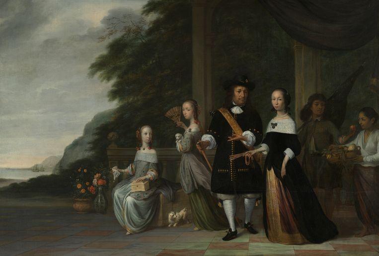 Pieter Cnoll, Cornelia van Nijenrode en hun dochters. Jacob Coeman, 1665. Op de achtergrond staan twee tot slaaf gemaakten. Beeld Rijksmuseum