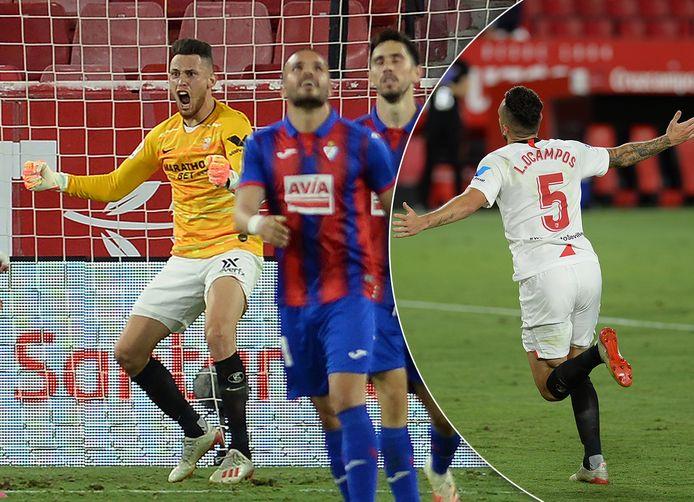 Lucas Ocampos redt Sevilla in de slotseconden als keeper, nadat de Argentijnse vleugelspeler eerst had gescoord.