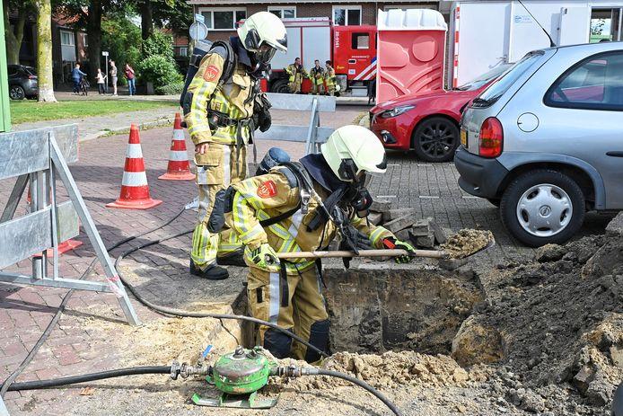 De brandweer aan het werk.