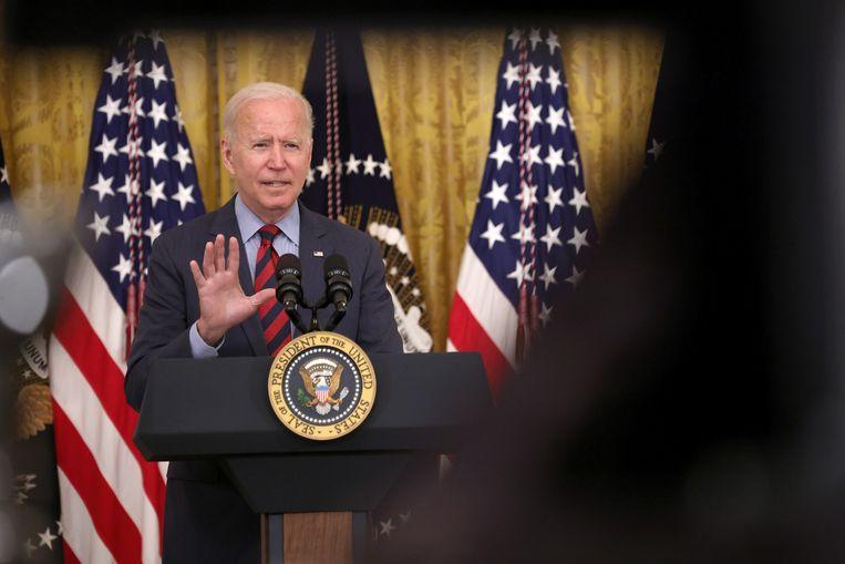 Biden reageert op een vraag over Cuomo. Beeld Getty Images