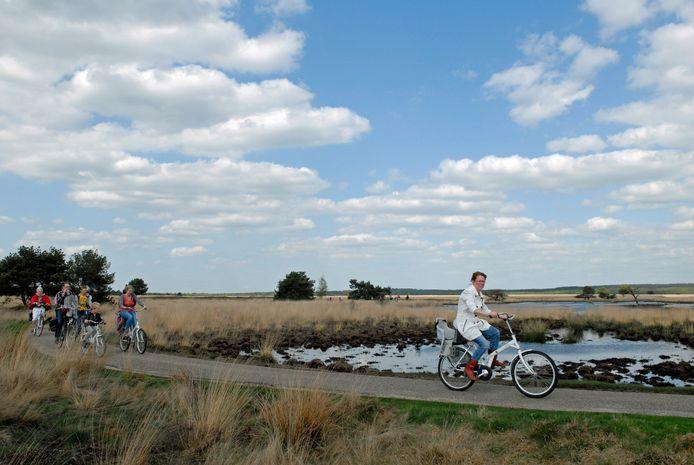 Toeristen genieten van de natuur op de Hoge Veluwe.