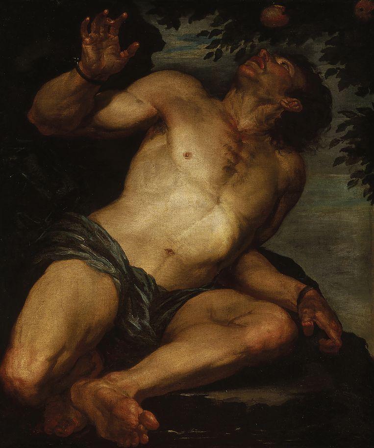 Tantalus door Gioacchino Assereto  (1600–1649)  Beeld