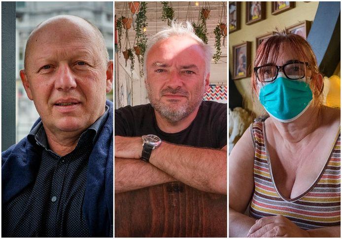 Burgemeester van Vilvoorde Hans Bonte, Schepen van Lokale Economie Didier Cortois en uitbaatster van café De Club Sonja Van Camp.