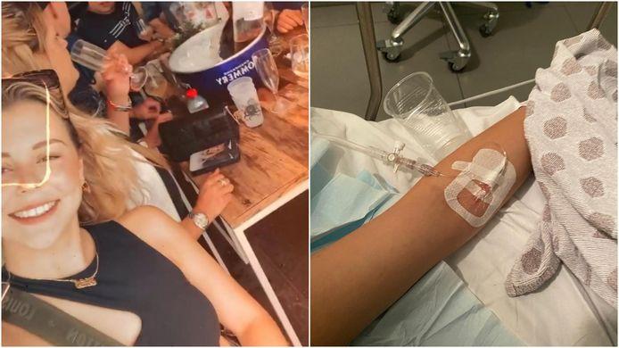 Links: Malak neemt een selfie op Ostend Beach, toen ze zich nog op en top voelde. Rechts: Malak in het ziekenhuis. Er werd ketamine en XTC in haar bloed gevonden.