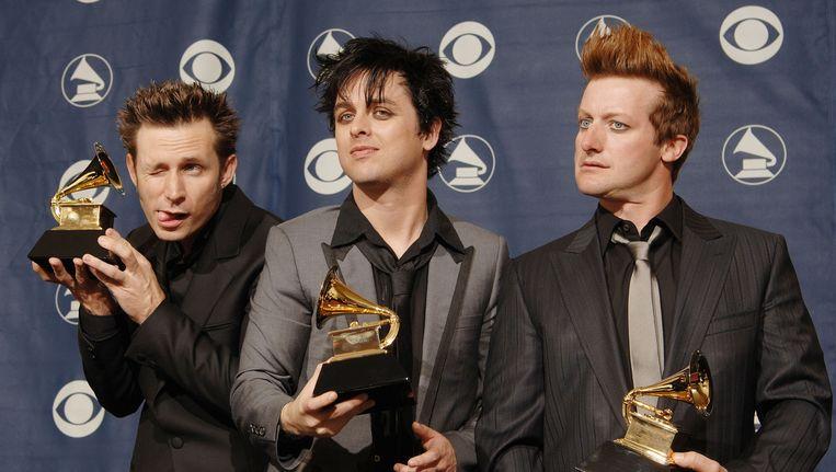 Bandleden Mike Dirnt (links), Billie Joe Armstrong en Trey Cool. Beeld AFP