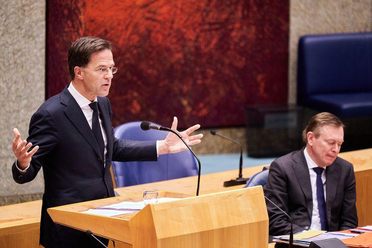 Premier Mark Rutte tijdens het debat. Beeld ANP