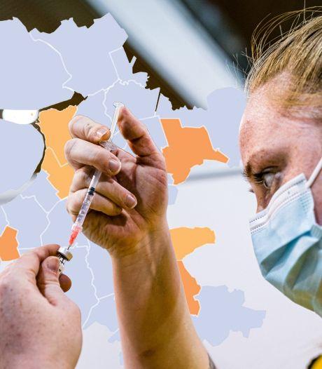 KAART | Laagste aantal nieuwe besmettingen in 2021 zorgt voor bijna volledig grijsgekleurde kaart van de regio
