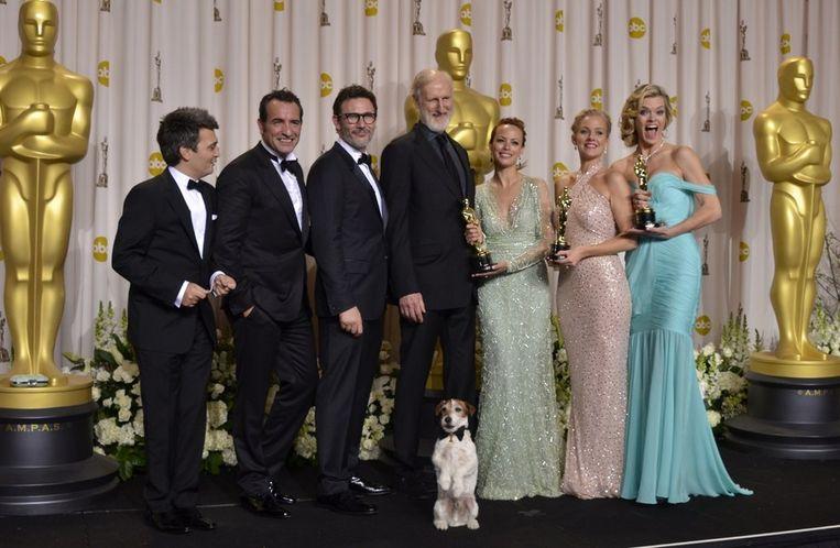 The Artist en zijn vijf Oscars. Beeld AFP